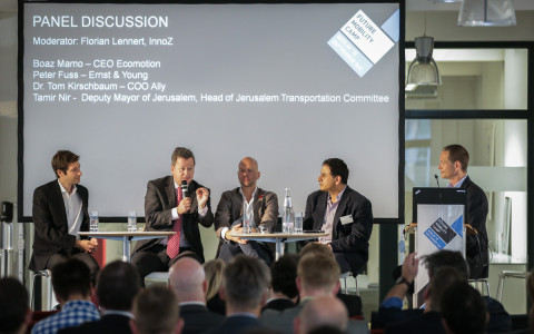 Boaz Mamo, CEO Ecomotion | Peter Fuss, EY, | Dr. Tom Kirschbaum, COO Ally | Tamir Nir, Deputy Mayor of Jerusalem, Head of Jerusalem Transportation Commitee | Florian Lennert, InnoZ